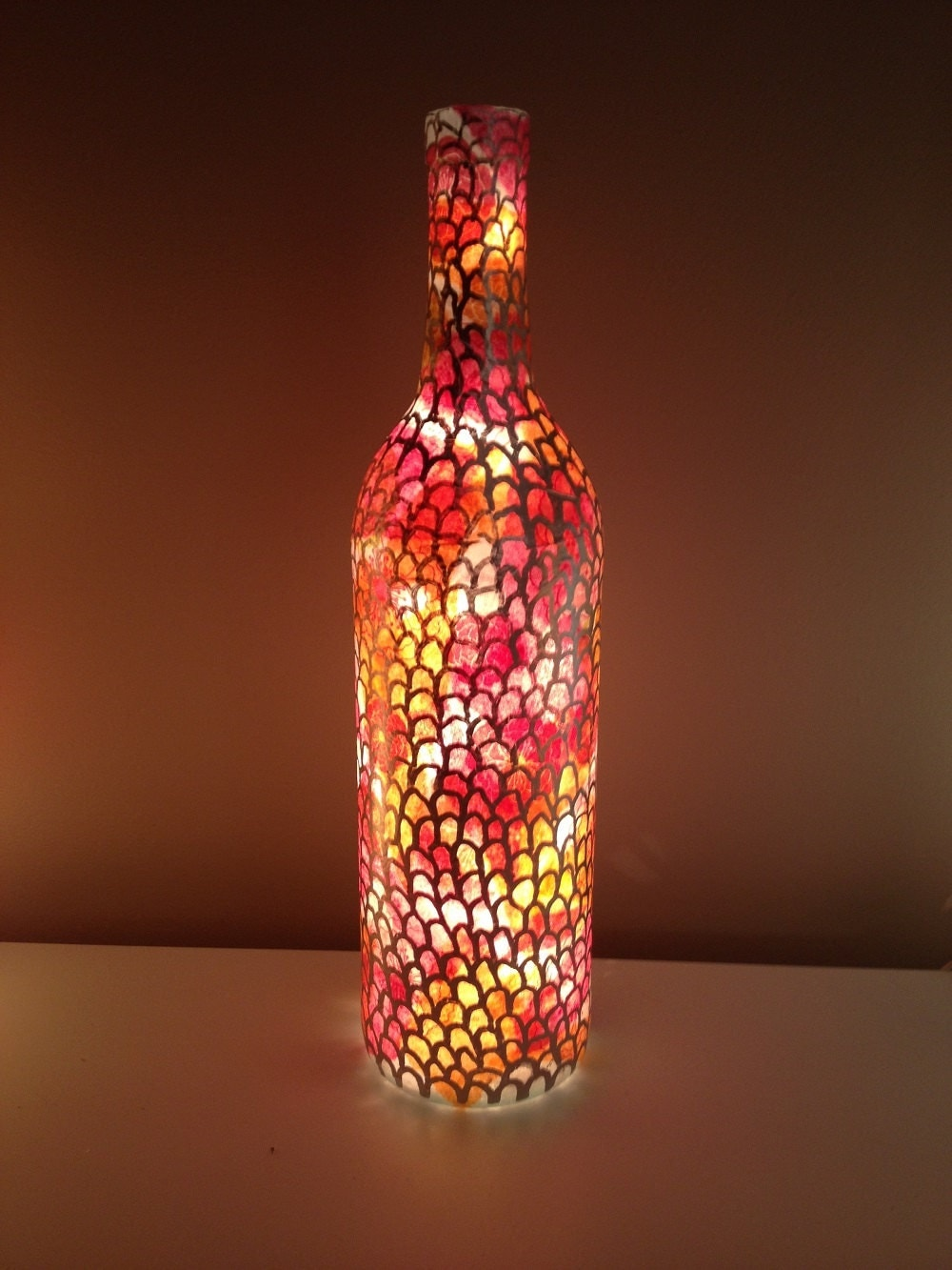 Scalloped light up wine bottle for Light up wine bottles
