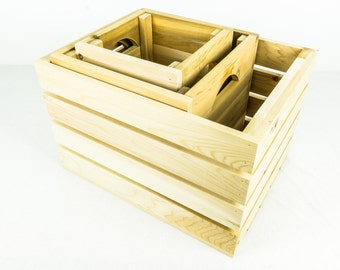 Cedar Modular Wooden Crates - Set of Three Different Sized Crates - Hand Made in Cedar Wood
