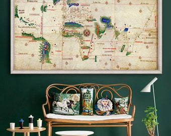 "World map 1502, Columbus Map of the World, 3 sizes up to 72x36"" (182x91cm) Age of Discoveries nautical map  - Limited Edition of 100"