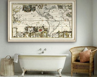 "Map of Americas 1719, Historical map of Americas with Pacific & Atlantic Ocean, 2 sizes up to 60x36"" (150x90 cm) - Limited Edition of 100"