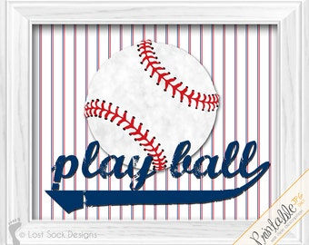 Play Ball baseball decor Baby Boys Baseball theme nursery bedroom wall art printable digital download