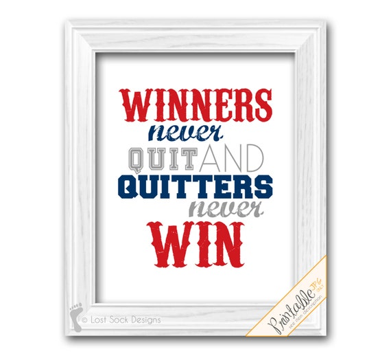 Sports Quote Baseball Theme Teen Boy bedroom Winners Never