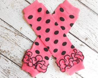 Pink/Black Dots Leg Warmers with Ruffles, Leg Warmer, Girl Leggins, Wholesale Leg Warmers, One Size Leg Warmers