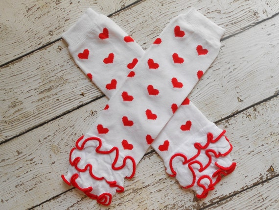 White/ Red Hearts  Leg Warmers with Ruffles, Leg Warmer, Girl Leggins, Wholesale Leg Warmers, One Size Leg Warmers