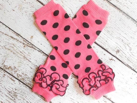 Pink/Black Dots Leg Warmers with Ruffles, Leg Warmer, Girl Leggins, Wholesale Leg Warmers, One Size Leg Warmers