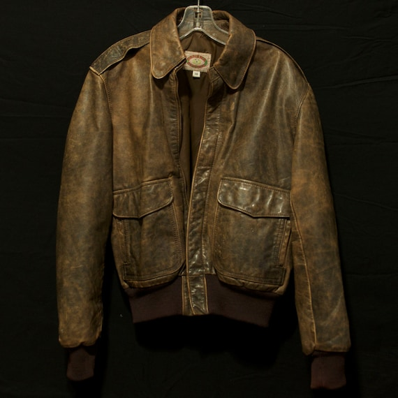 1980 vintage brown leather bomber jacket Banana