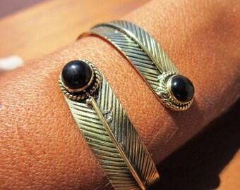 Feather Bangle Bracelet Gold Brass Onyx dual gemstone - Adjustable Bangle cuff