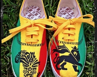 "Unisex rasta sneakers ""king of Judah"""