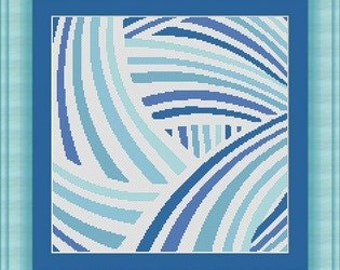 ABSTRACT BLU / abstait bleu- Counted cross stitch pattern /grille point de croix ,Cross Stitch PDF, Instant download , free shipping