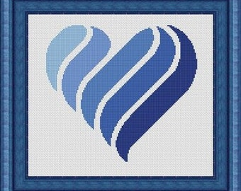 BLU HEART/ coeur bleu- Counted cross stitch pattern /grille point de croix ,Cross Stitch PDF, Instant download , free shipping