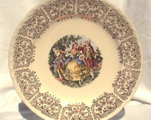 """Crooksville China Ohio 10"""" Dinner Plates Gold Colonial Couple in Garden 1940s CR010 Thematie"""