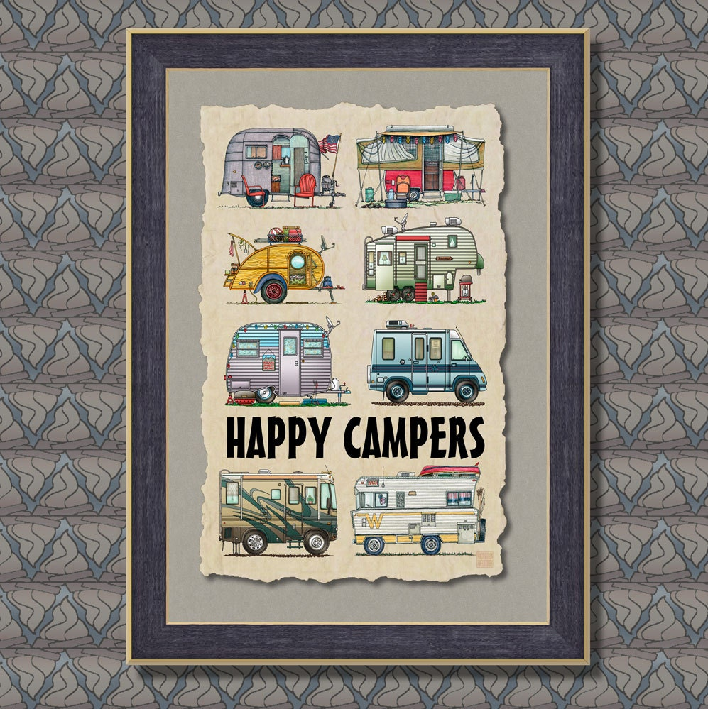 Art Décor: Campers RV Camping Trailers Poster Wall Decor Art 13x19 Wall