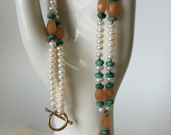 Freshwater Pearl Necklace with Agate and Turquoise Beads OOAK