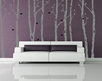 Birch Trees Wall Decal Sticker Branches Birds Home Decor Tall Trees