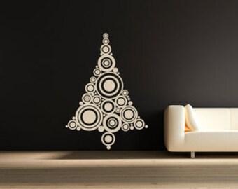 Wall Decal Retro Christmas Tree Sticker Xmas Festive Decoration Home Decor Decorative