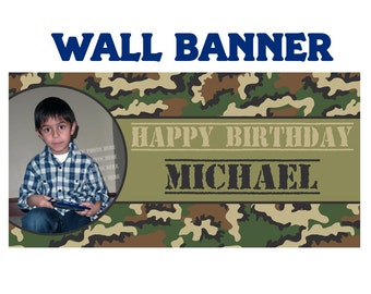 Happy Birthday Banner Military ~ Personalized Camo Party Banners, Phot Birthday Banner, Camo Photo Banner, Printed Banner