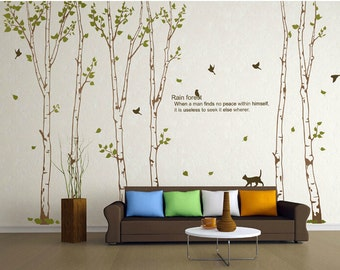 Family Birch Tree Wall Decal,Rain forest wall decal,Birch Tree Wall sticker,nature tree wall decal,vinyl sticker,tree birds wall mural-4821