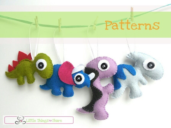 Mini Dinos Set of Four PDF Sewing Patterns-Baby mobile toys-Dinosaur plushies-Cute dinosaurs toy patterns-Felt ornament tutorial-DIY