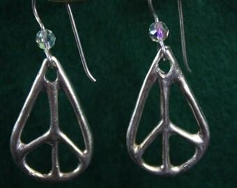 Hippy Teardrop - Peace Sign - Sterling Silver Dangle Earrings