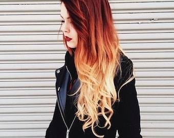 """Remy Human Hair Clip In Hair Extensions -  12"""" 14"""" 16"""" 18""""  22"""" 24"""" - #130 Red Ginger #27 Caramel Blonde Ombre Dip Dye"""