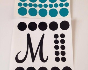 Initial and Polka Dot Decal Set