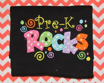 Pre-K Rocks Shirt, back to school. First day of school, prek shirt, prek, school, I love school,  applique prek shirt