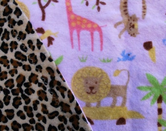 Safari Print GirlsFlannel Baby Blanket