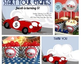 Race Car Birthday Party Printable MINI SET & Invitation, INSTANT Download Race Car invitation, Retro Race Track Party, Kid Sports Car Party