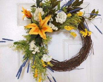 Summer Wreath, Spring Wreath, Wildflower Wreath,Lily Flowers, Geranium Wreath,Door Wreath