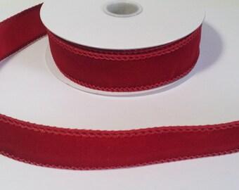 """7/8"""" Wine Velvet Ribbon - 10 Yards"""