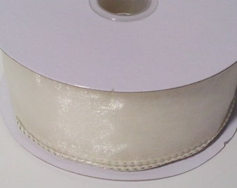 Wired Edge Organza Ribbon - Ivory - 10 Yards