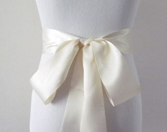 Ivory Ribbon Sash/ Double Faced Ribbon Sash/ Bridal Sash/ Bridal Ribbon/ Ivory