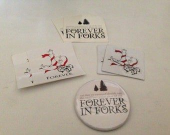 TwiBetween/Forever in Forks Sticker and Button Pack