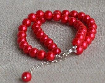 red pearl bracelet,2 strands pearl bracelet,  pearls bracelet,bridesmaids bracelet,glass pearls bracelet,wedding pearl bracelets