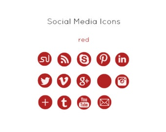Red Social Media Icons - Instant Download