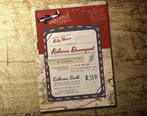 Precious cargo baby shower invitation, Vintage map airplane travel theme, high quality digital printable file | red & navy | blue and beige