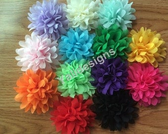 10pcs Wholesale 3.9'' inch Chiffon Scalloped Flower - DIY Headband Accessories- Fabric Flower Mixture Color  YTA26