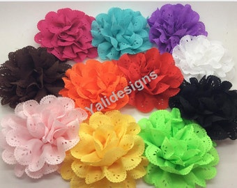 U Pick Wholesales 10cm Chiffon Flower Brooch Baby Headbands Accessories. Hollow Fabric Flower. YTA33