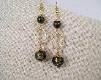 Dark Grey Lampwork Glass Bead & Swarovski Deep Brown Crystal Pearl Dangle Earrings