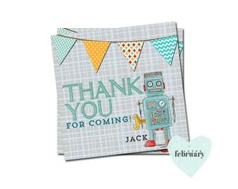 Robot  Favor Tag - Custom Wording - Boy Birthday - Butning Banner - No.175