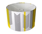 Handmade  Contemporary  | Drum Lamp Shade  | Chevron - Arrow  | Yellow, Black