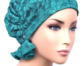 The Abbey Cap® #569 Lace Sequin Turquoise - Elegant Chemo Turban