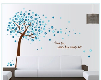 Blue Blossom Tree Decal