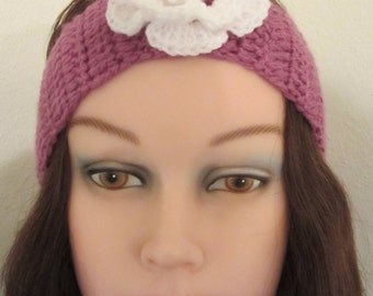 Headband, Woman's crochet accessory for her hair.  The headband is embellished with a white crochet rose.