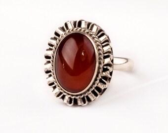 Stunning Vintage Silver  Ring with fine Carnelian gem  Unique Antique design.