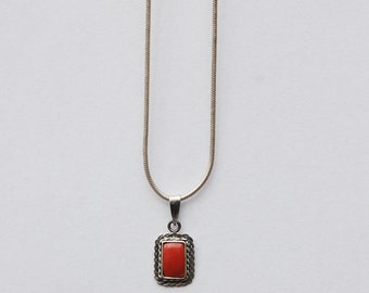 Fine Silver Chain and Pendant with Blood Coral