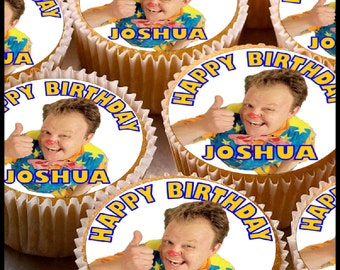 24 x Personalised Mr Tumble Cup Cake Toppers with Any Name Happy Birthday