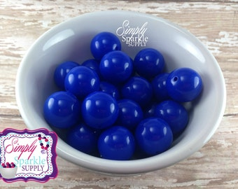 Royal blue 20mm chunky bubblegum beads wholesale lot of 10 or 20pc