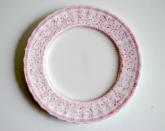 Vintage pink and white floral side/ cake plate