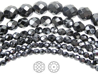 6mm (68pcs) Jet Hematite Fully coated, Czech Fire Polished Round Faceted Glass Beads, 16 inch strand